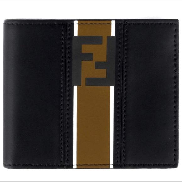 6d71d6a461 Fendi Forever Men's Black Leather Bi-fold Wallet NWT